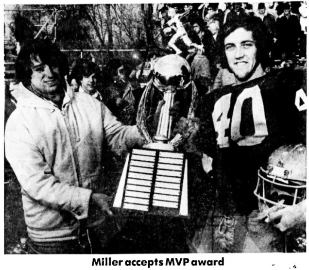 Tom Miller crowned 1975 Stoddard Bowl MVP at Ceppa Field. Playing quarterback, he scored five touchdowns and kicked six extra points in Platt's 42-6 victory.